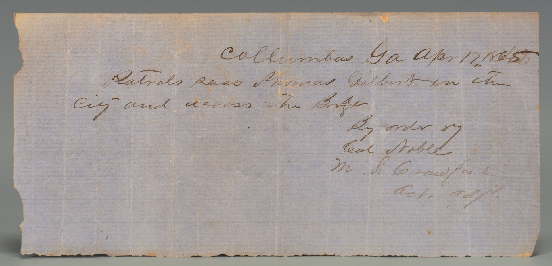 Lot 559: Columbus GA Postmarked Covers 1842-44 & Civil War Pass