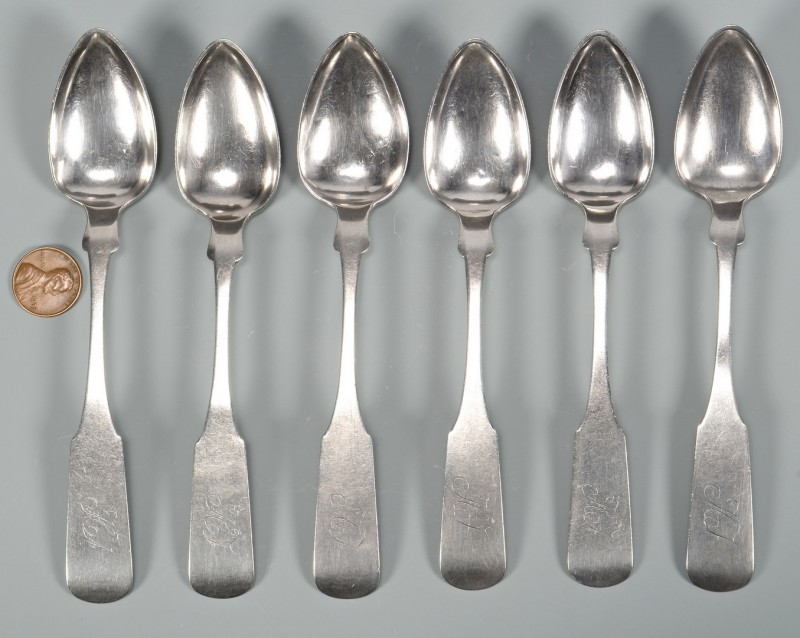 Lot 55: 6 Knoxville Coin Silver Spoons, Hope
