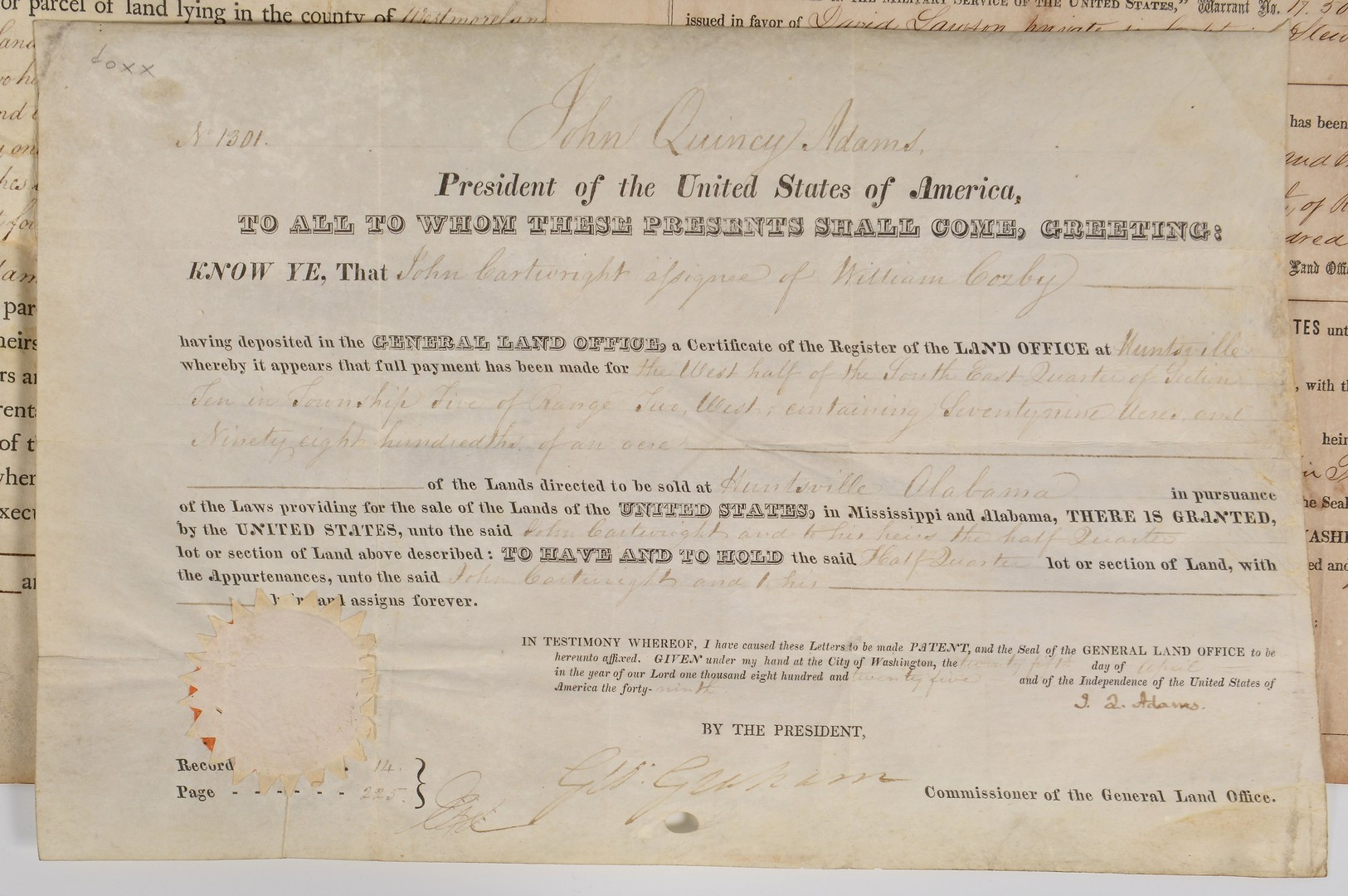 Lot 561: 8 Docs. inc. J. Q. Adams signed Ala. land grant