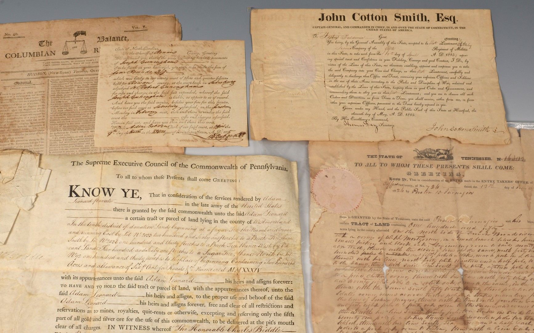 Lot 561: 8 Docs. inc. J. Q. Adams signed Ala. land grant