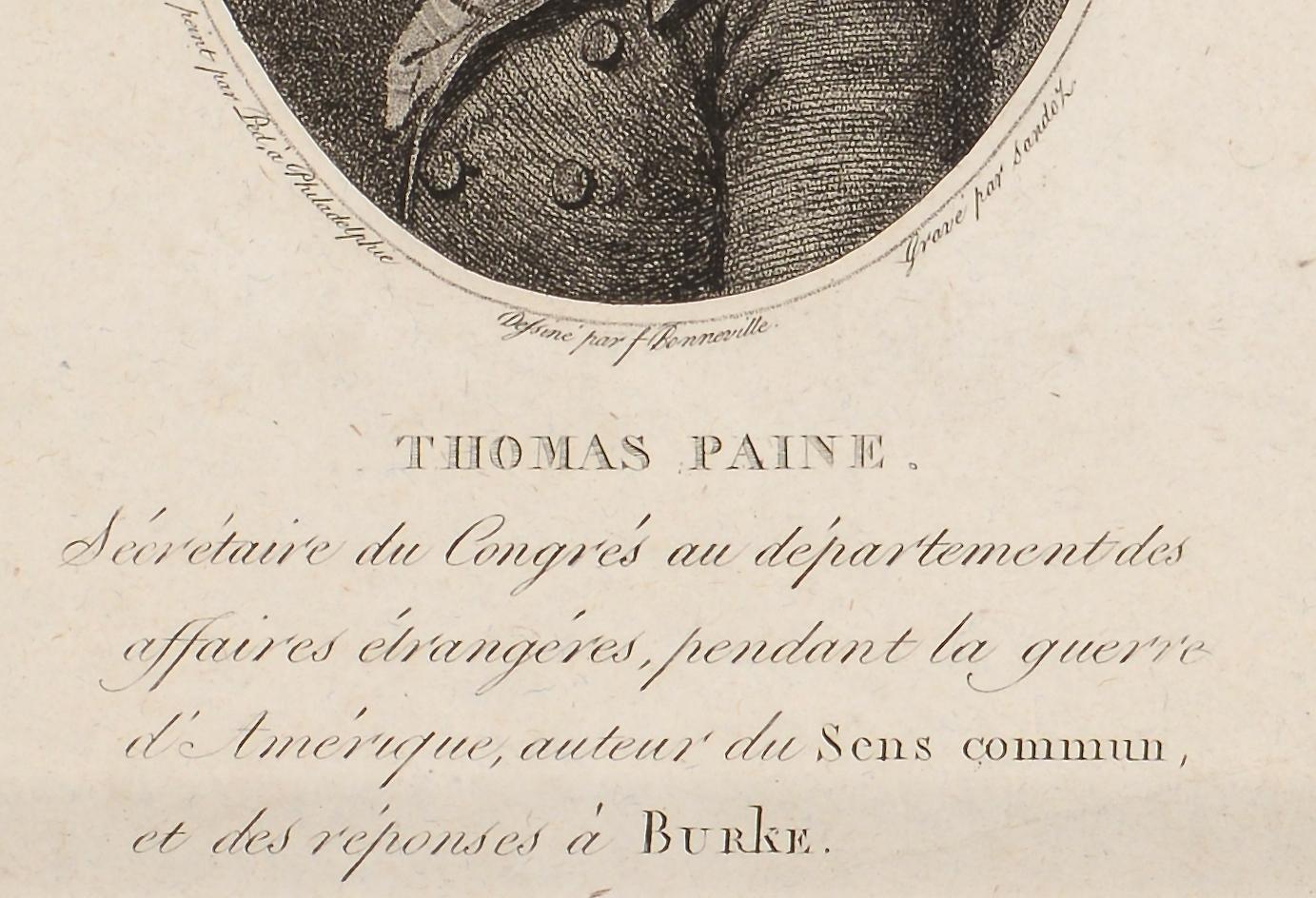 Lot 566: 3 Rev. War Engravings: Paine, Deane, Franklin