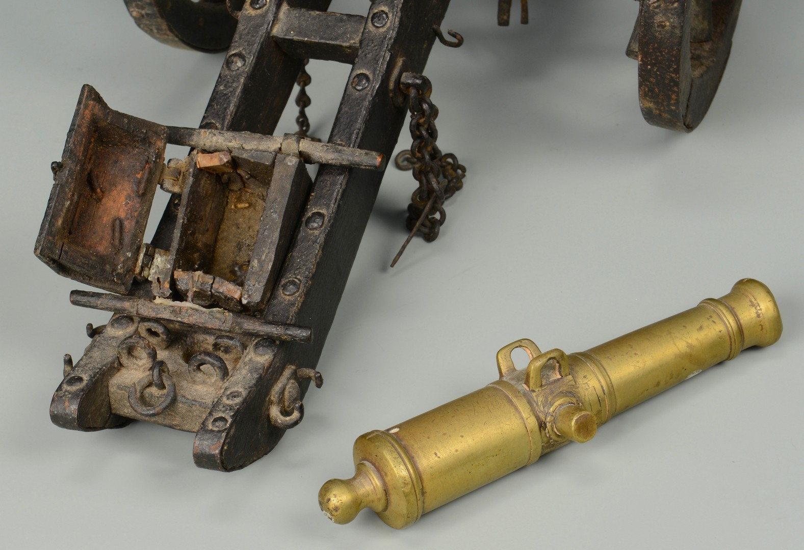 Lot 580: 3 Miniature Cannons w/ Caisson & Other