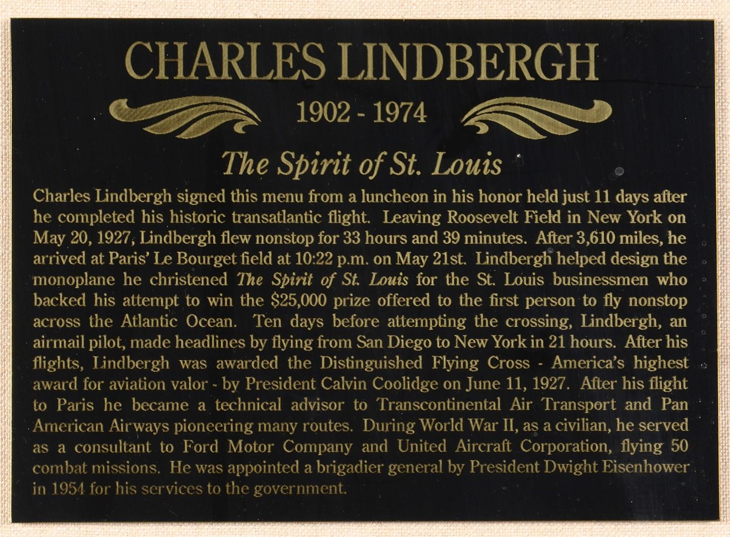 Lot 594: Charles Lindbergh Signed Menu