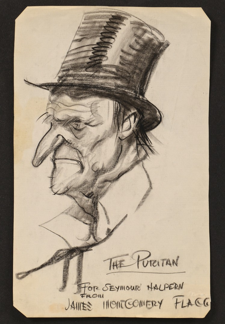 Lot 597: James Montgomery Flagg Drawing Caricature for Rep. Halpern