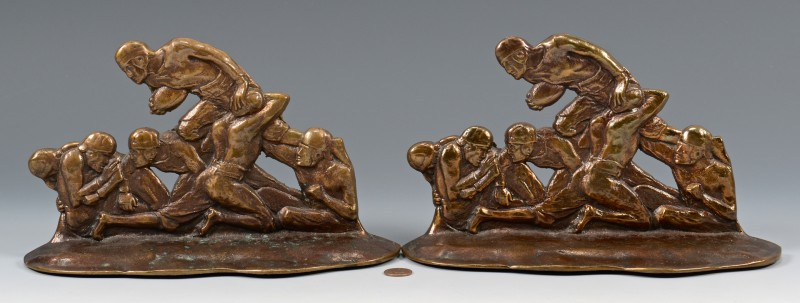 Lot 600: Pair Bronze Football Player bookends
