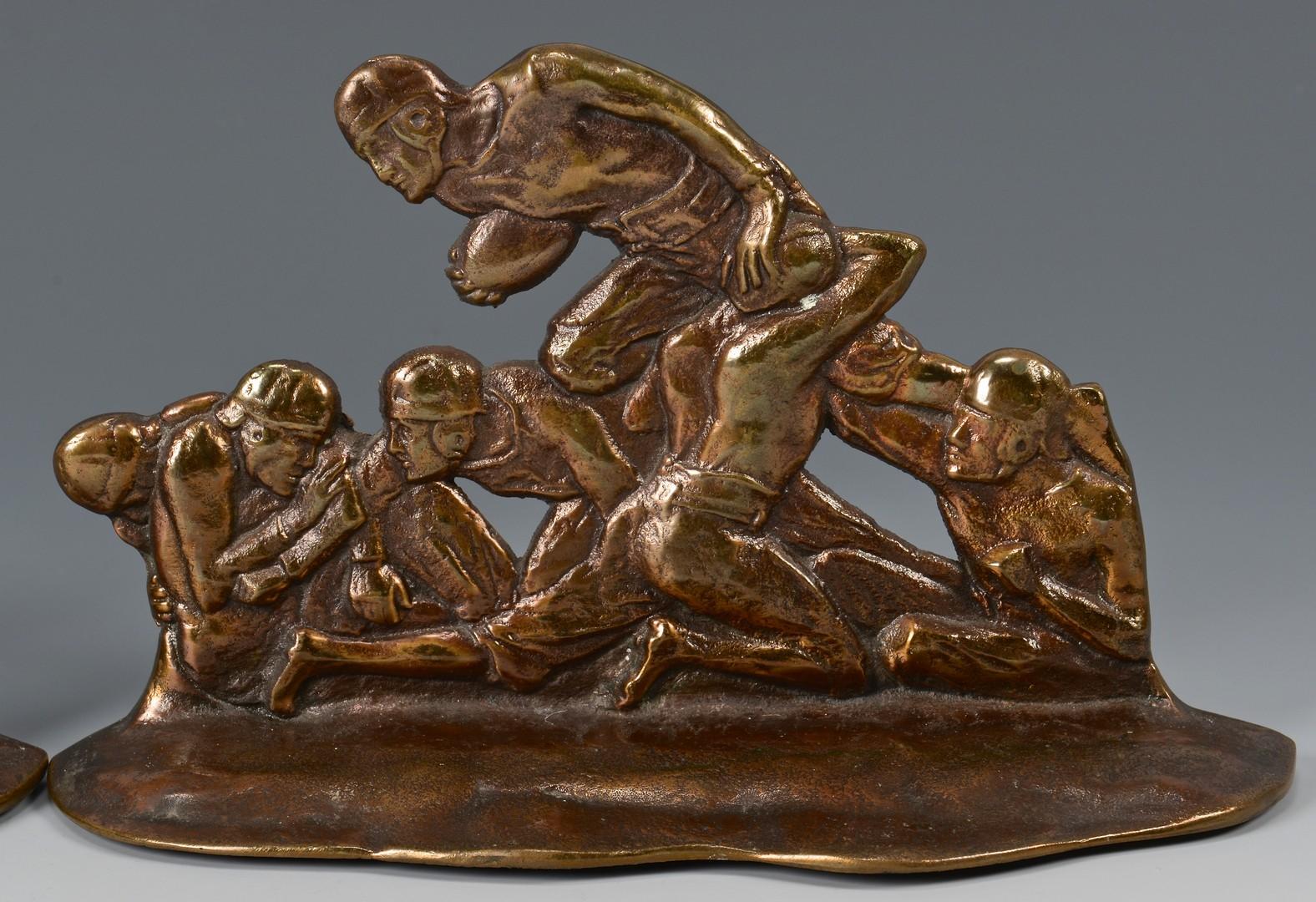 Lot 600: Pair Bronze Football Player bookends