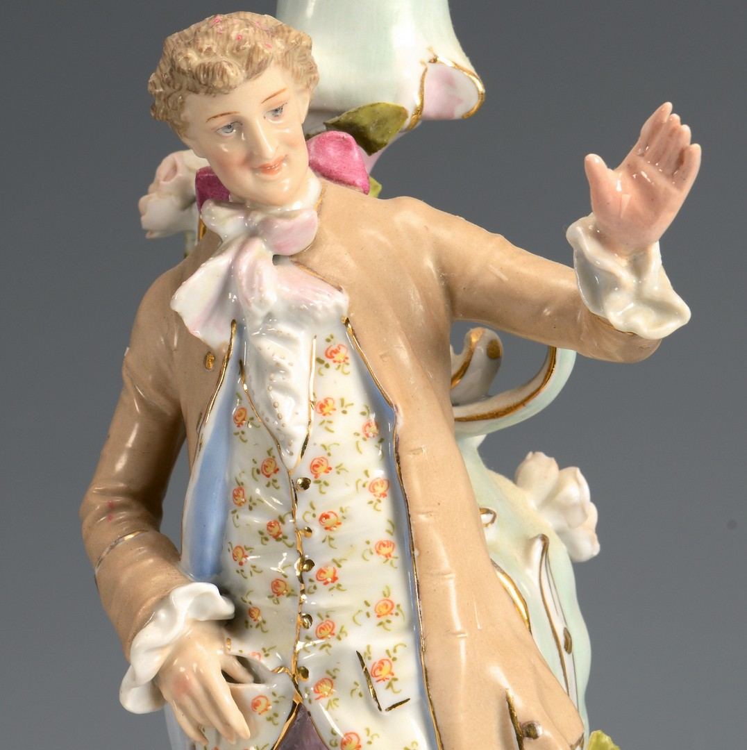 Lot 609: Pair Dresden Figural Candelabra
