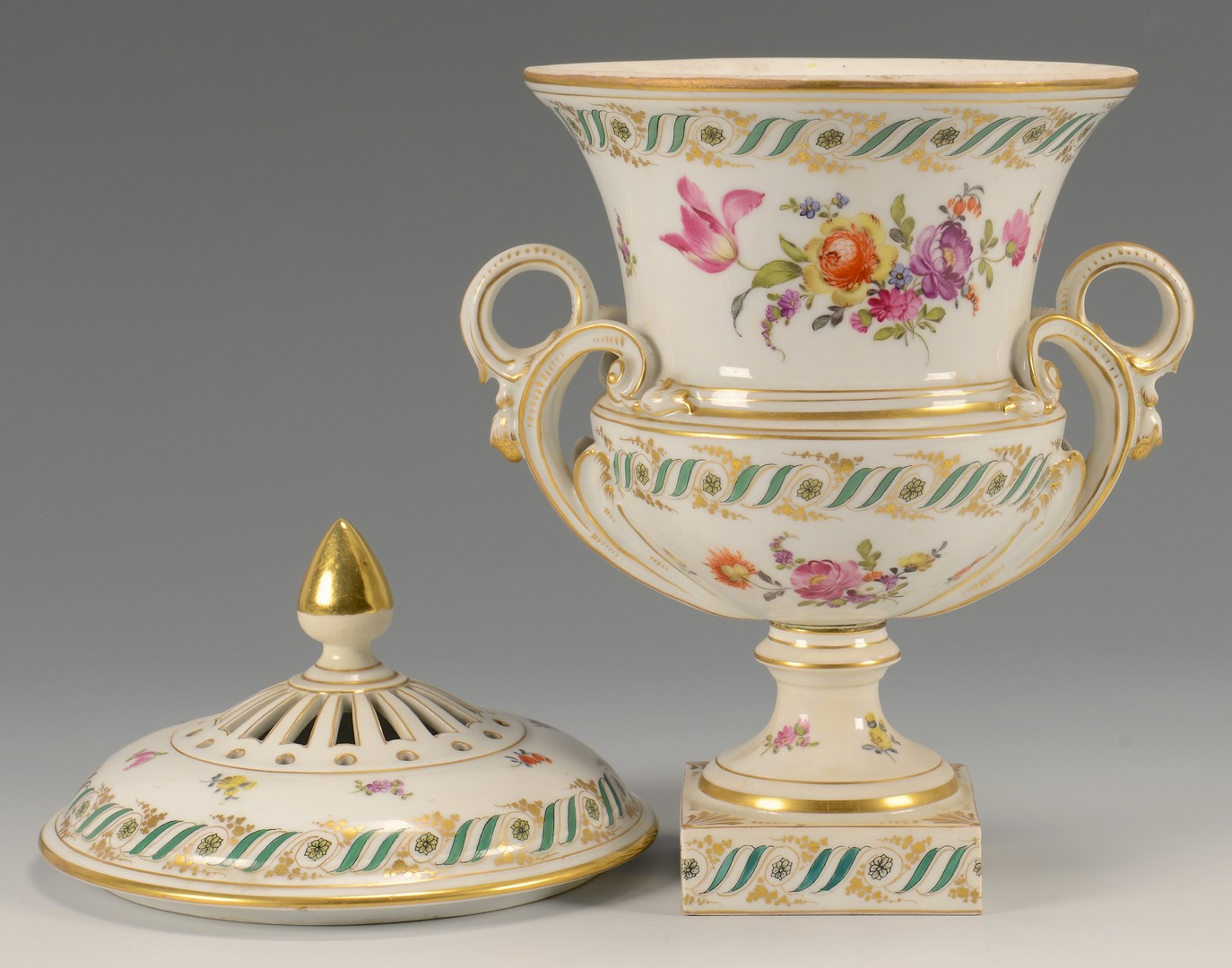 Lot 610: Dresden Urn & Card Holders
