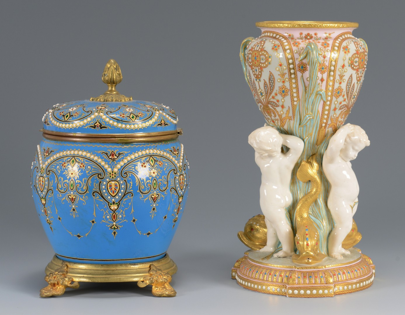 Lot 613: European jeweled porcelain and glass vase and jar