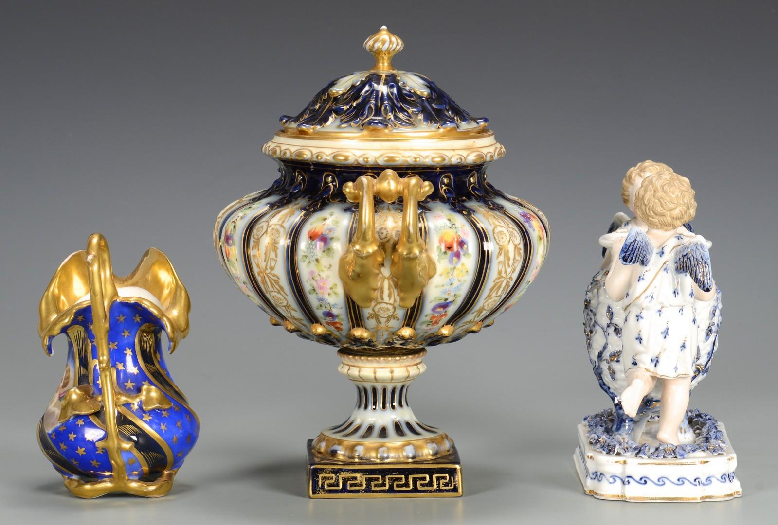 Lot 614: Rudolstadt Cherub Figural & Vase, Cherub Creamer