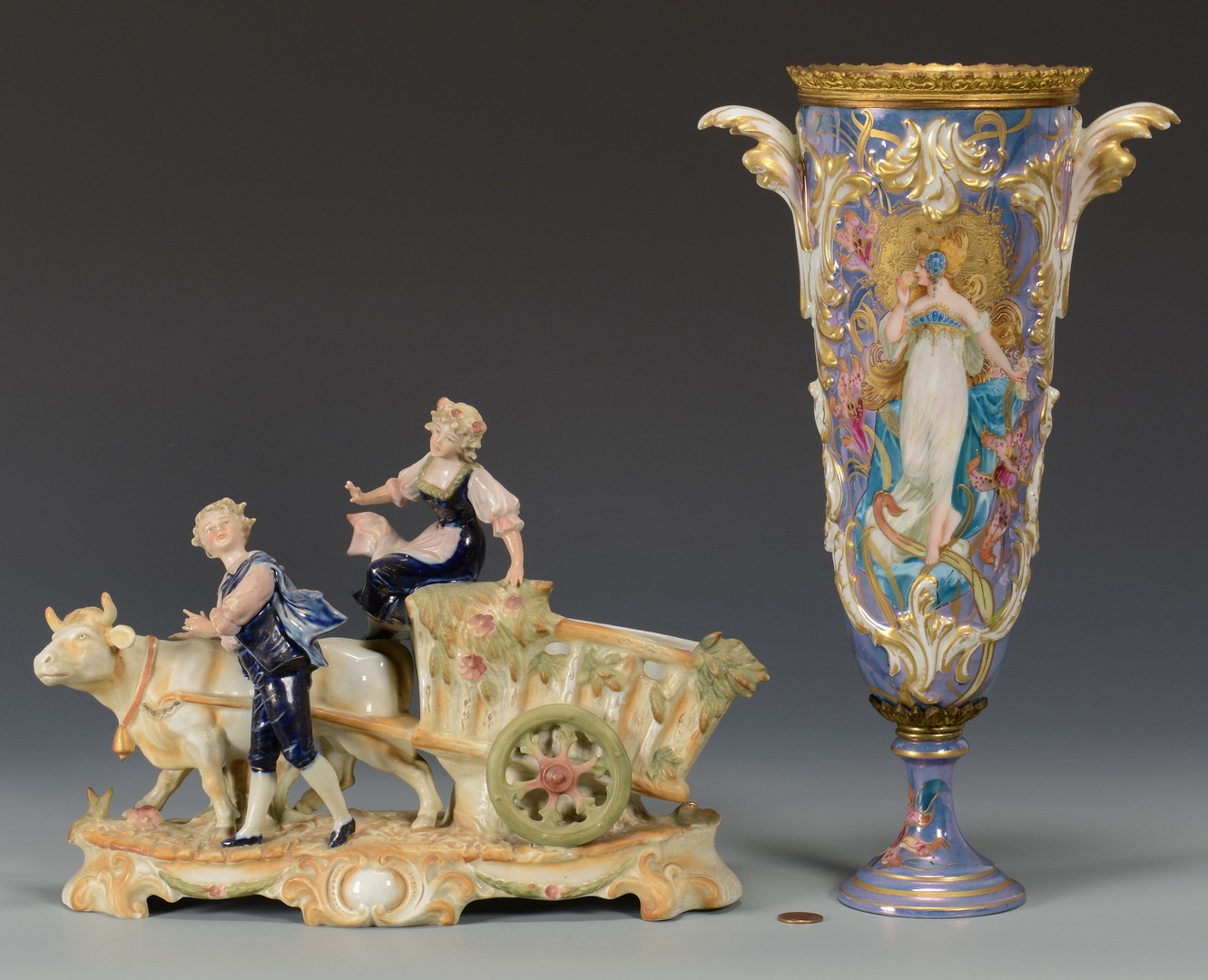 Lot 616: Sevres style Art Nouveau Vase and Figural