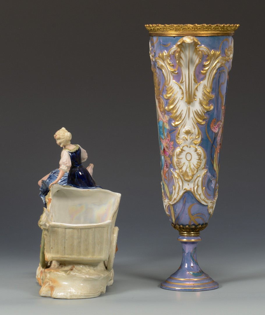 Lot 616: Sevres style Art Nouveau Vase and Figural