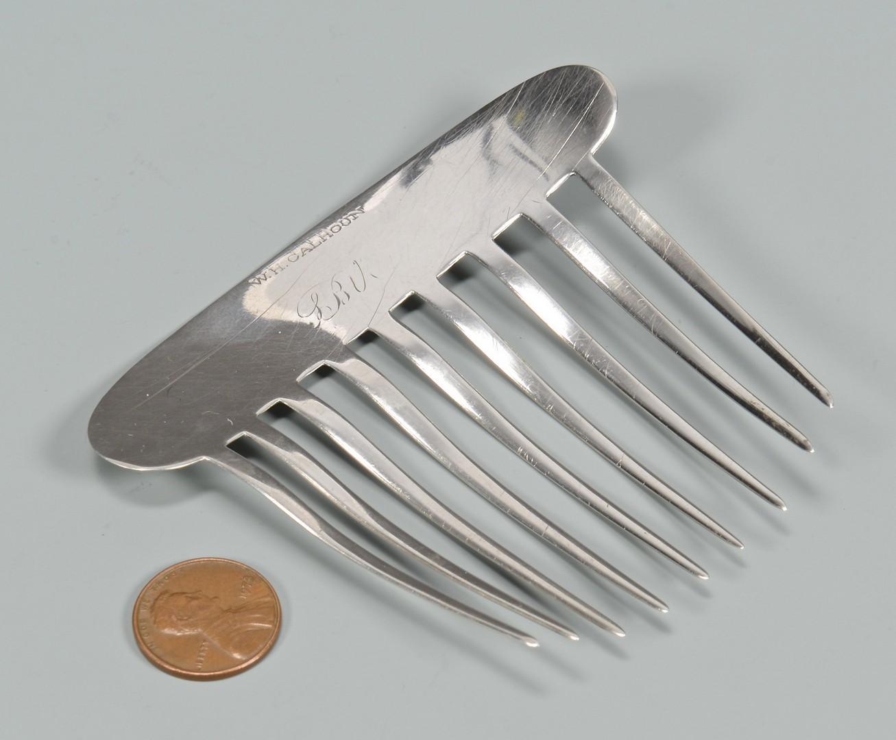 Lot 61: Calhoun Coin Silver Comb