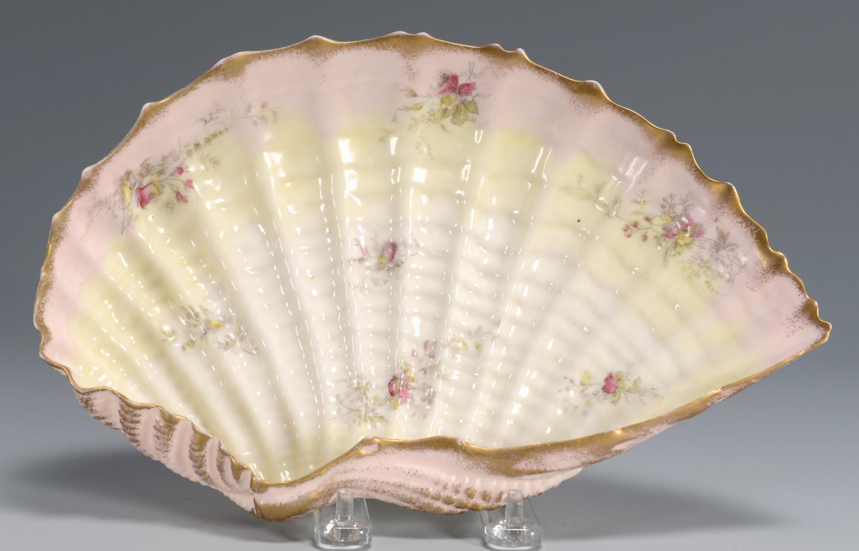 Lot 620: Belleek Porcelain Pitcher & Flat Shell