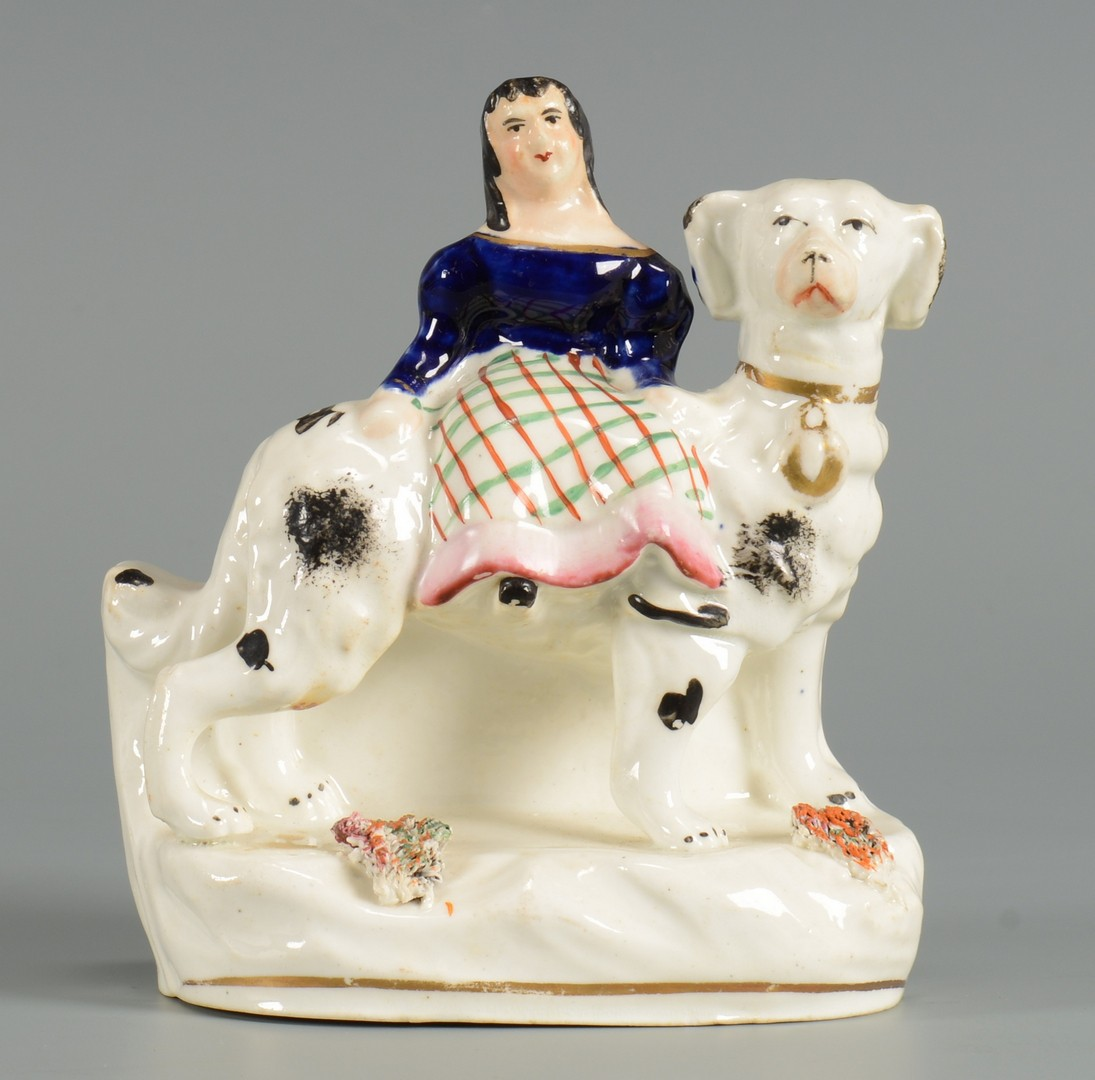Lot 623: Pair Staffordshire Dogs & Figure
