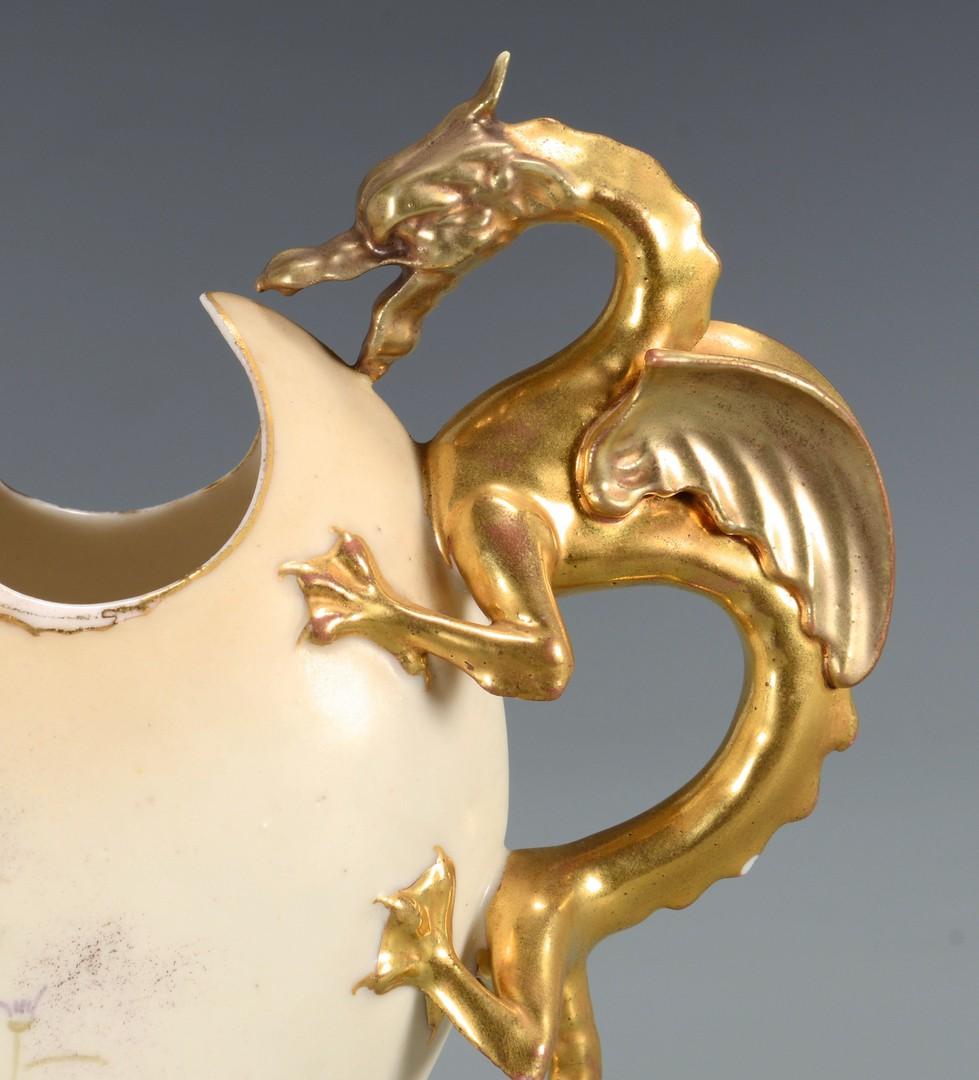 Lot 624: 4 Continental Dragon Ewers & Pitchers
