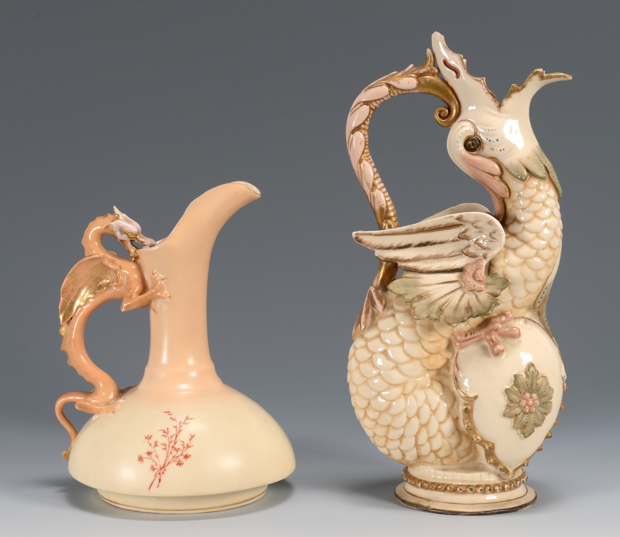 Lot 624: 4 Continental Dragon Ewers & Pitchers