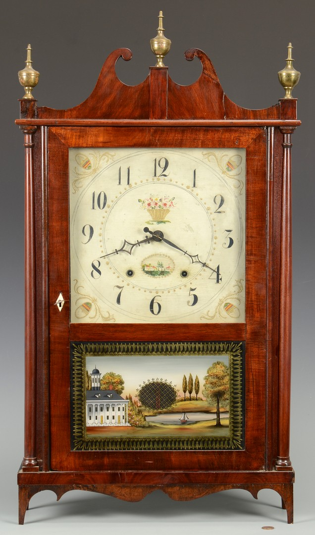 Lot 627: Eli Terry Pillar & Scroll Clock w/Federal design