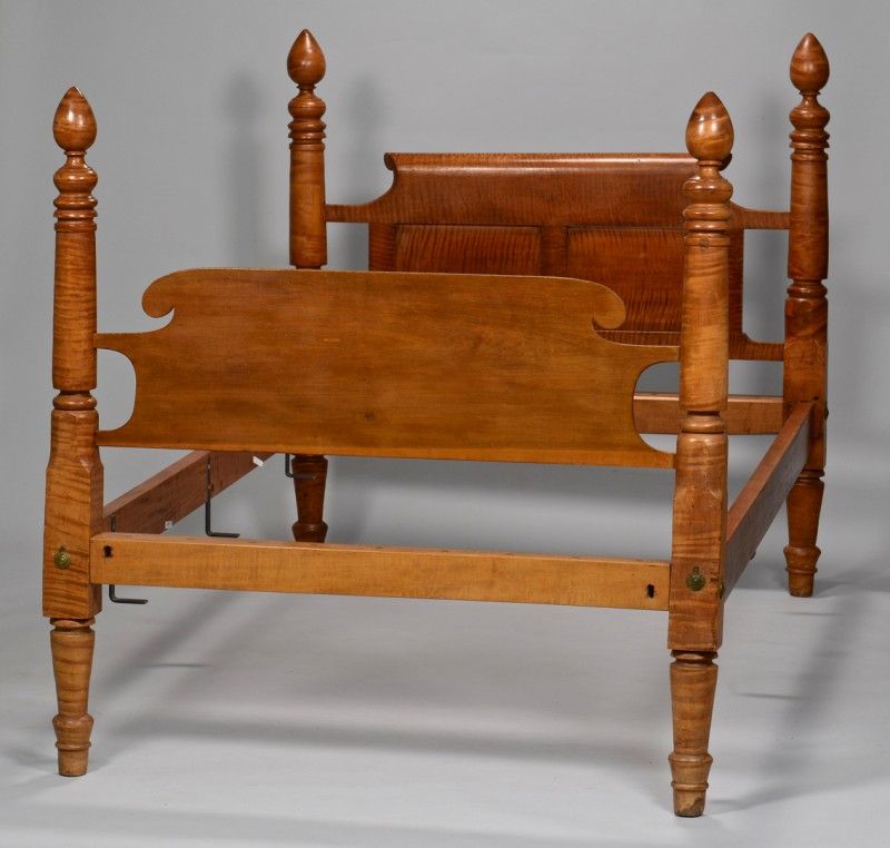 Lot 634: American Sheraton Tiger Maple Bed