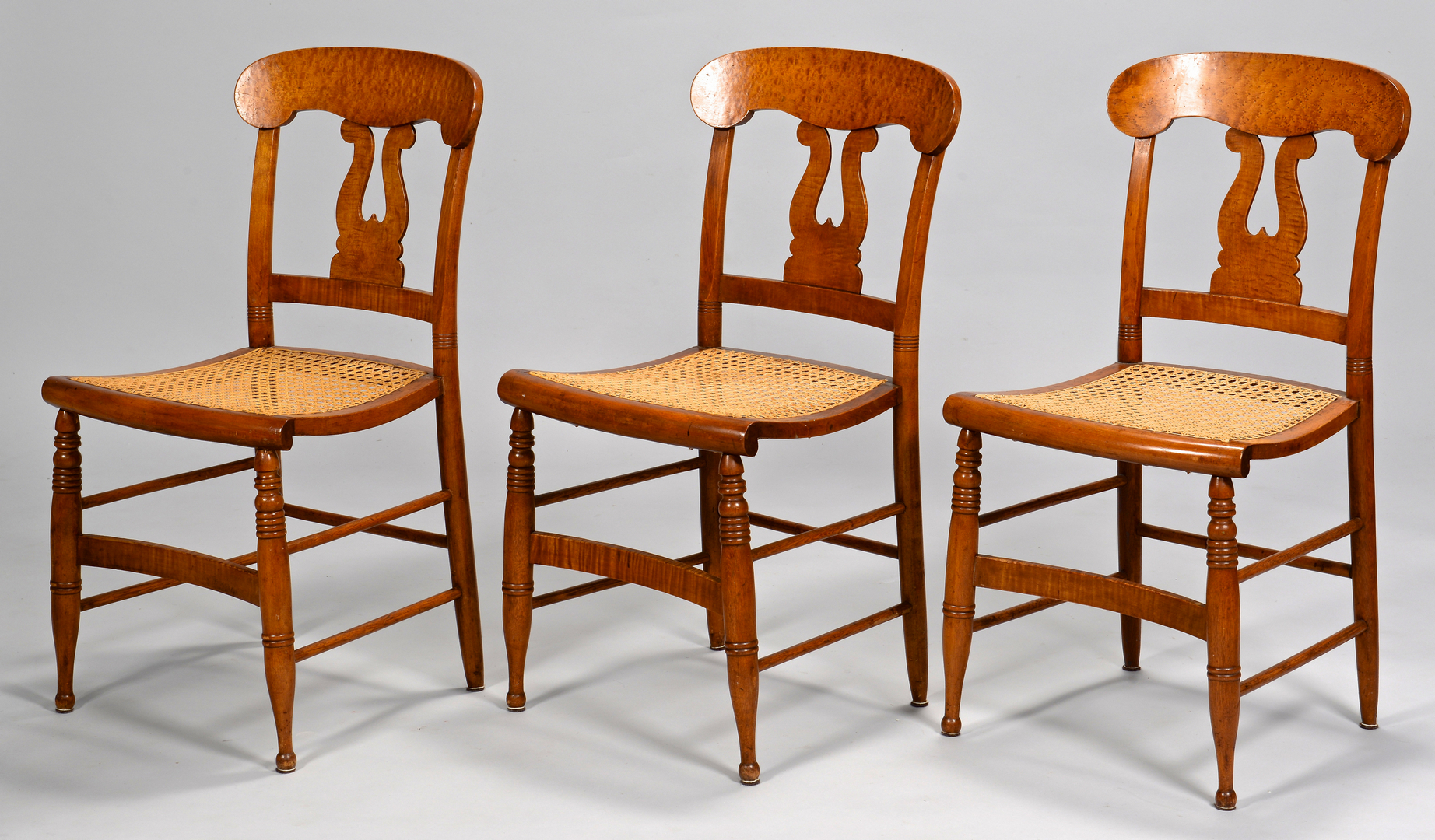 Lot 635 Set of 6 Sheraton Tiger Maple Chairs