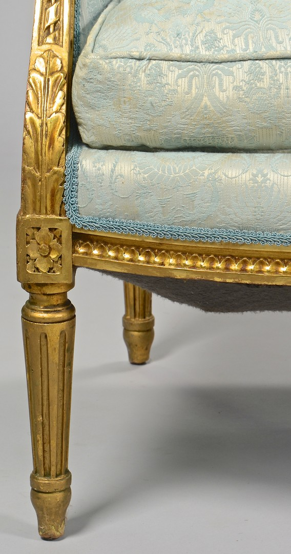 Lot 637: Pr. French Louis XVI Chairs w/ Gilt Carving