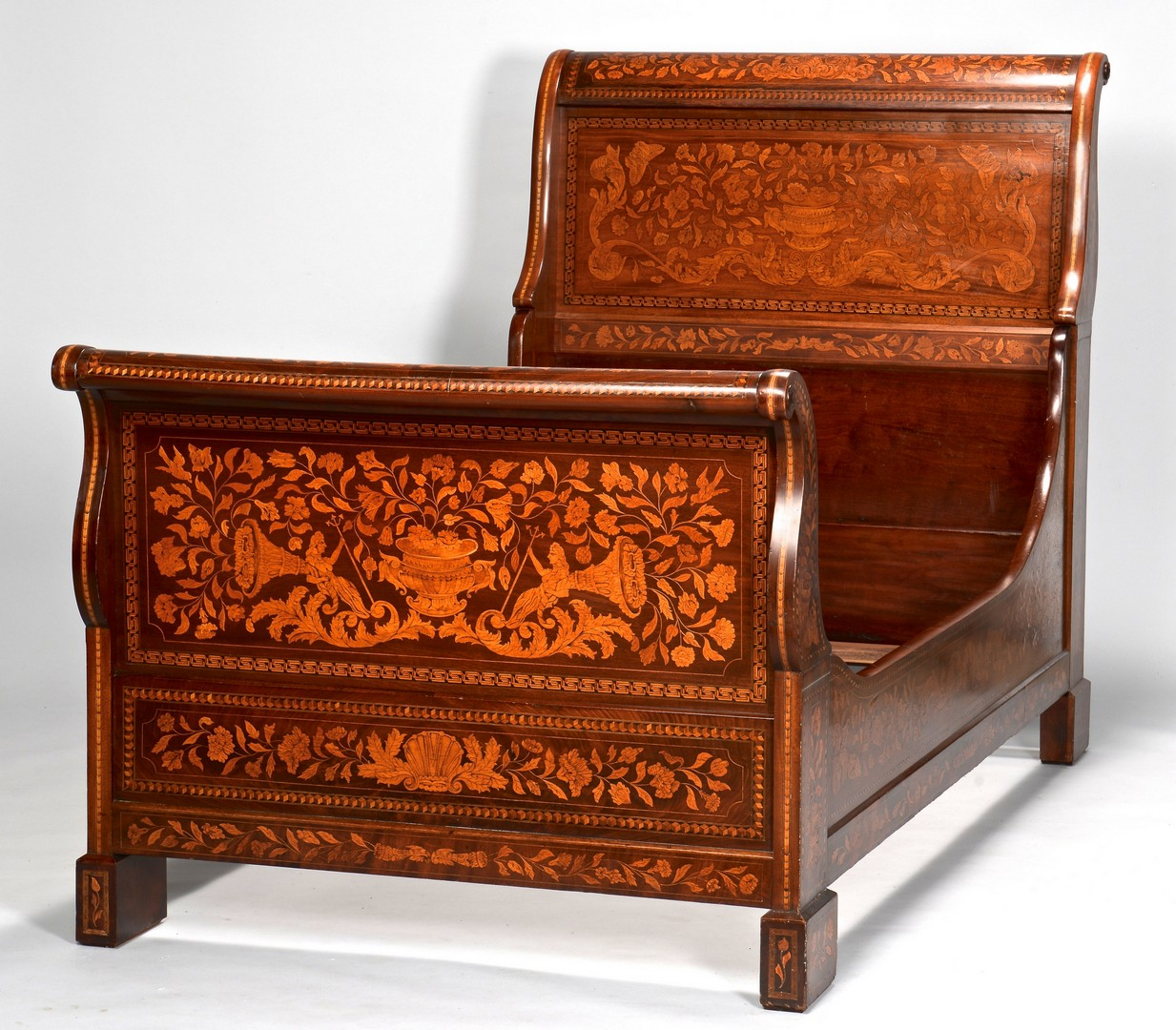Lot 638: Continental Inlaid Sleigh Bed, Twin Size