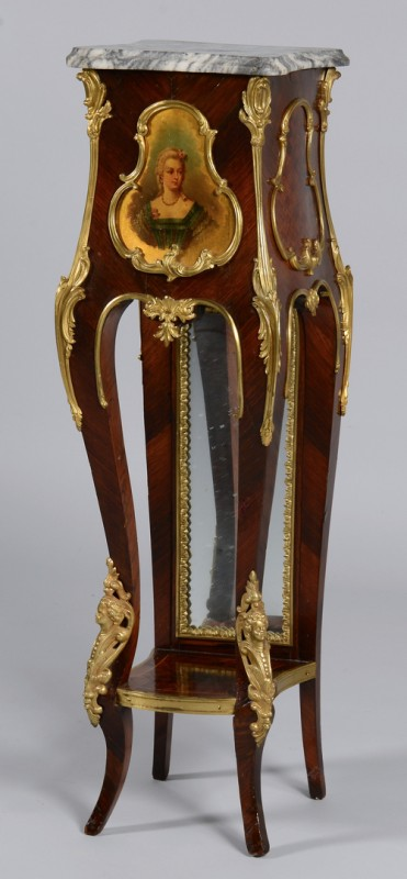 Lot 640: French Pedestal w/ Portrait & Marble Top
