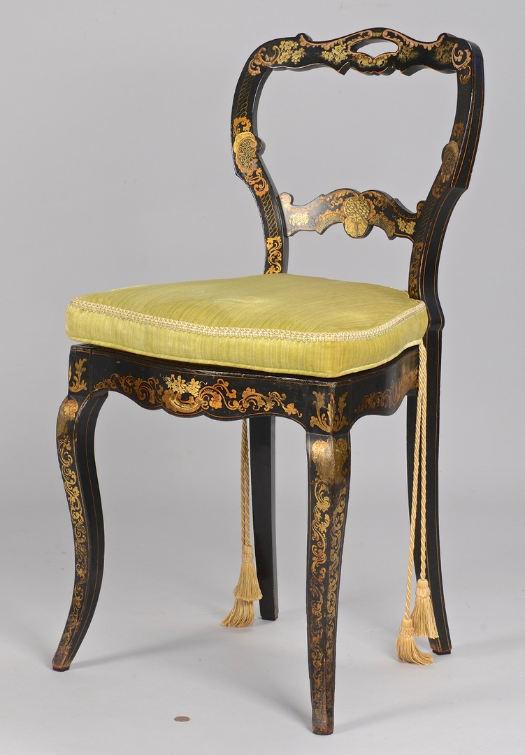 Lot 642: Painted Classical Chair & French Fan