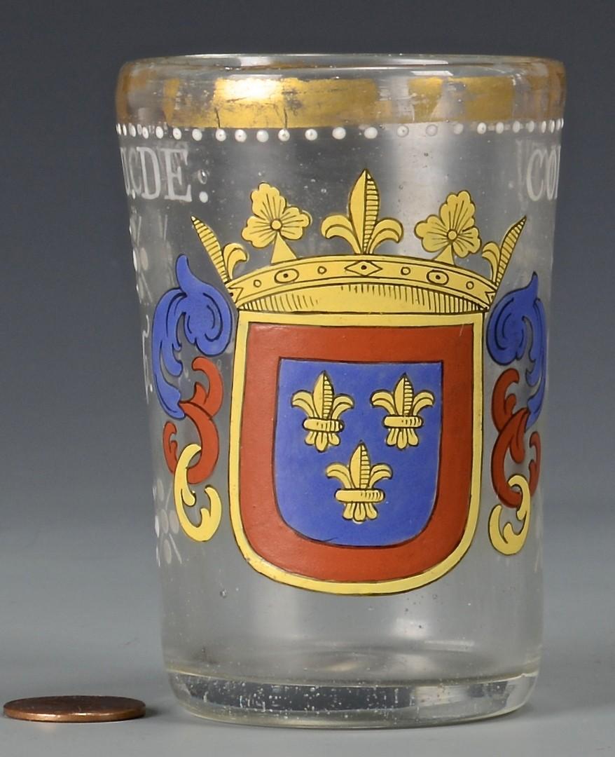Lot 650: 2 19th Cent. Bohemian Enameled Armorial Beakers