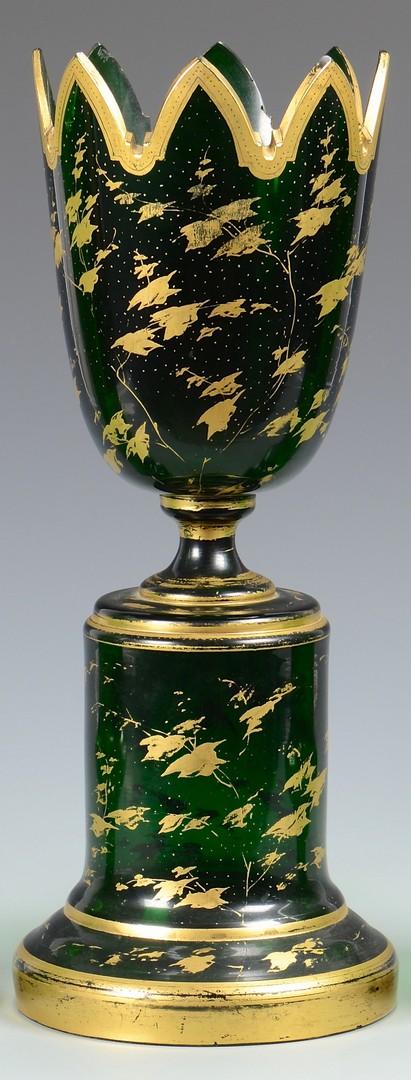 Lot 651: Bohemian Glass Portrait Compote & Pr. of Vases