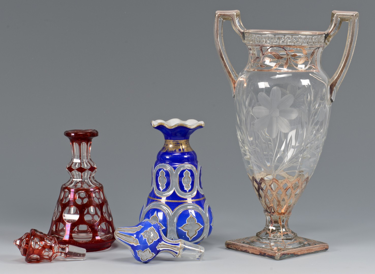 Lot 652: 5 Pcs Glass: Perfume Bottles, Vase, Candlesticks