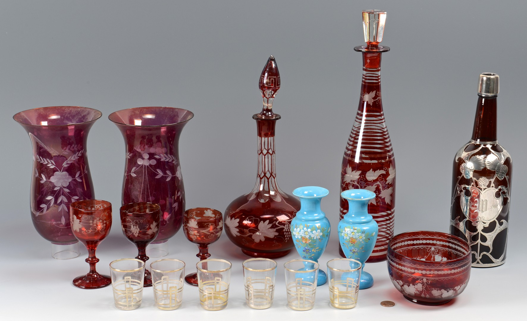 Lot 653: 17 pcs assorted glass: Ruby, Amber, Bristol Blue