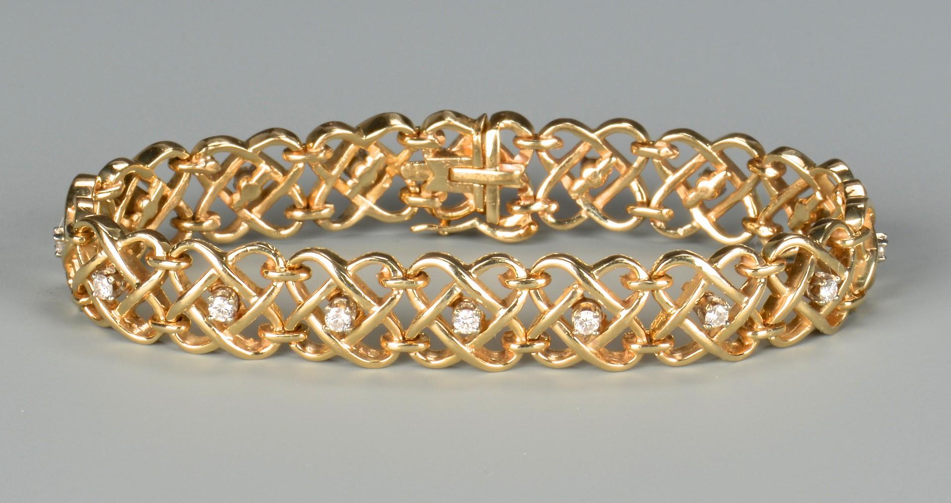 Lot 658: 14k Diamond Woven Bracelet