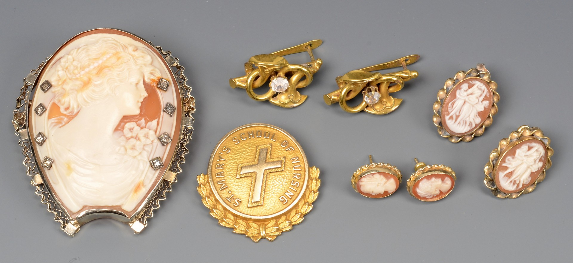 Lot 665: Grouping of Cameo Jewelry plus other