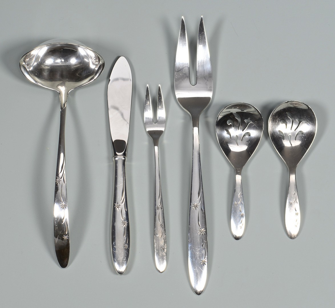 Lot 673: Gorham Celeste sterling flatware, 72 pcs, midcentury modern