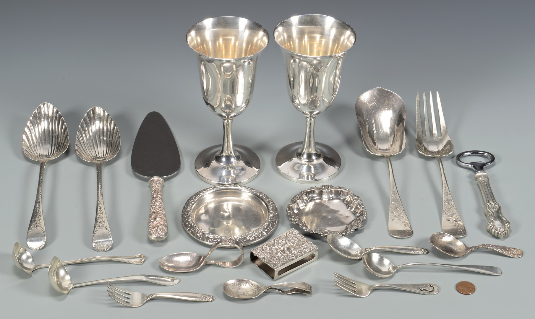 Lot 685: Misc. Sterling flatware plus 2 Goblets