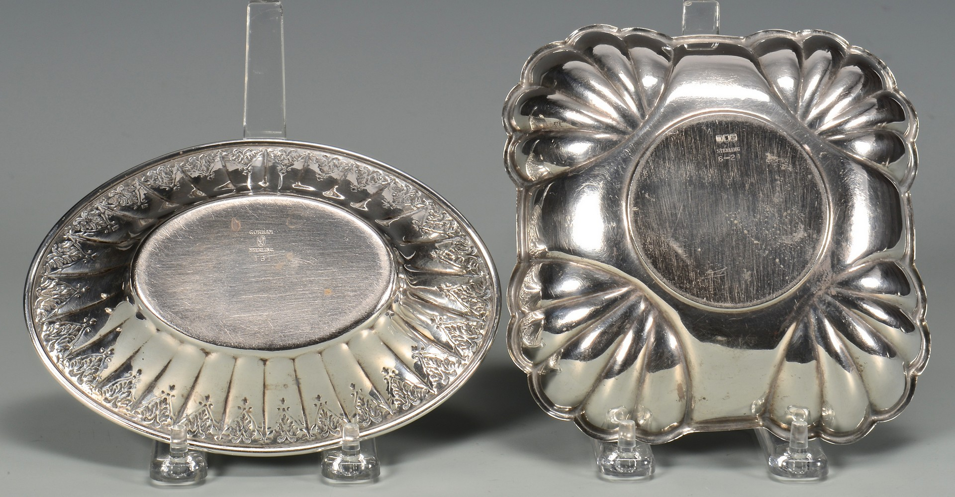 Lot 687: Silver swan compote, candy dishes, 17 pcs