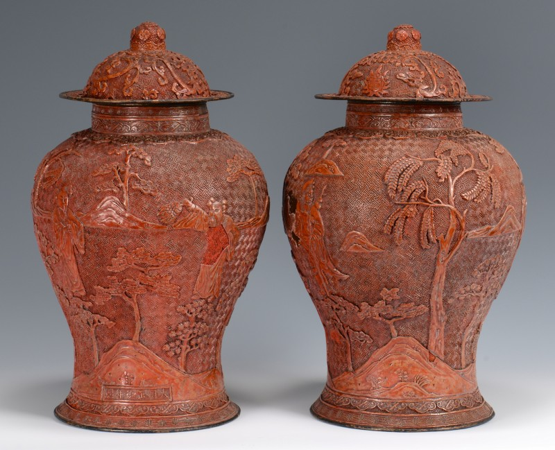 Lot 6: Pr. Large Urn Form Cinnabar Vases