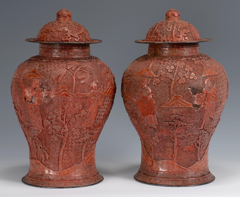 Lot 6: Pr. Large Urn Form Cinnabar Vases