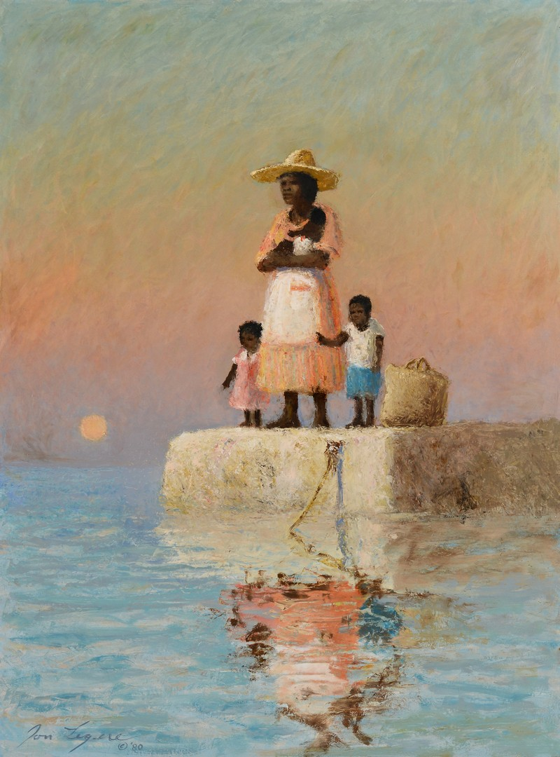 Lot 704: Jon Legere Seascape, Mother w/ 3 Children