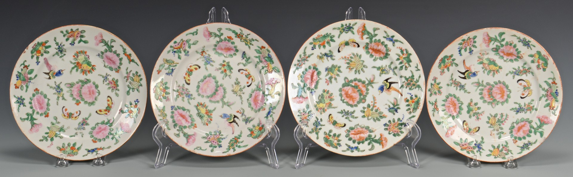 Lot 710: 8 Famille Rose Butterfly Plates & 3 Mugs