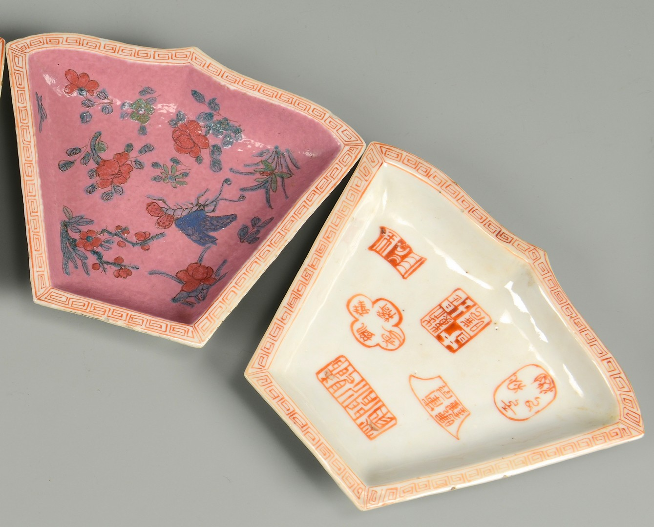 Lot 715: Chinese Famille Rose 9-Piece Sectioned Tray