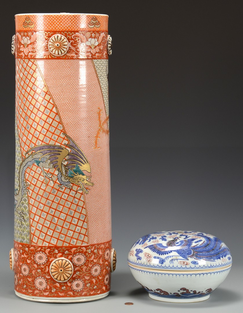 Lot 717: 2 Asian Porcelain items, Umbrella Stand & Covered Bowl