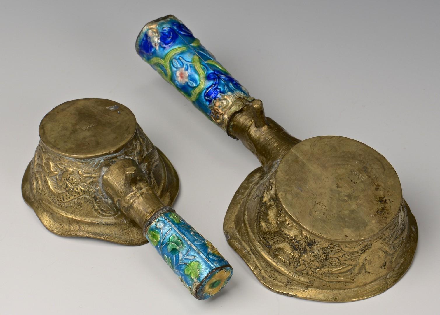 Lot 718: 5 pcs Asian Silver, Bronze & Brass + Clois. Bowl