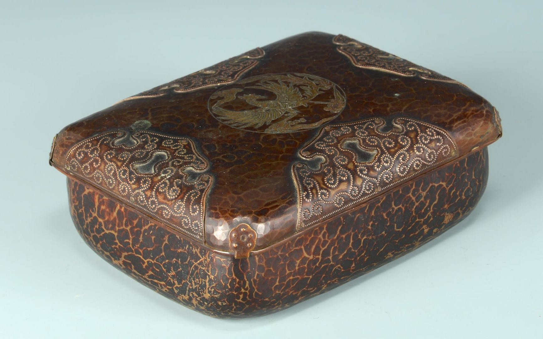 Lot 723: Japanese Mixed Metal Box w/ Undertray, signed