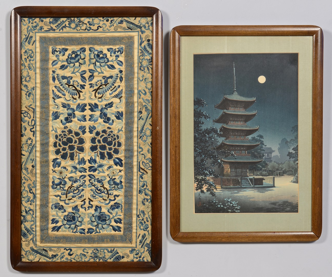 Lot 725: Chinese Embroidery & Koitsu Wood Block