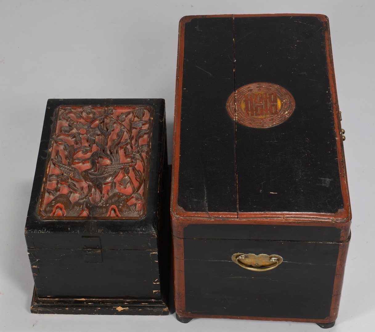 Lot 731: 2 Asian Lacquered Chests, 19th c.