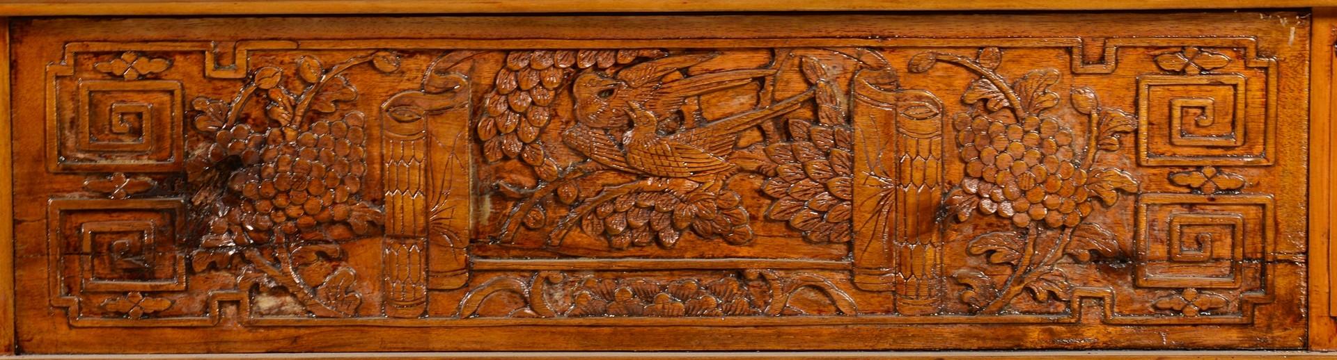 Lot 732: Carved Tibetan Table & Bronze Buddha Head