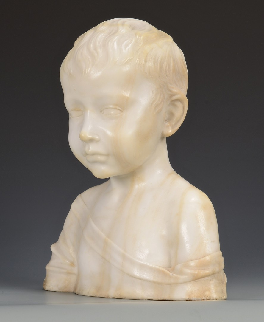 Lot 755: Marble Bust of Young Boy