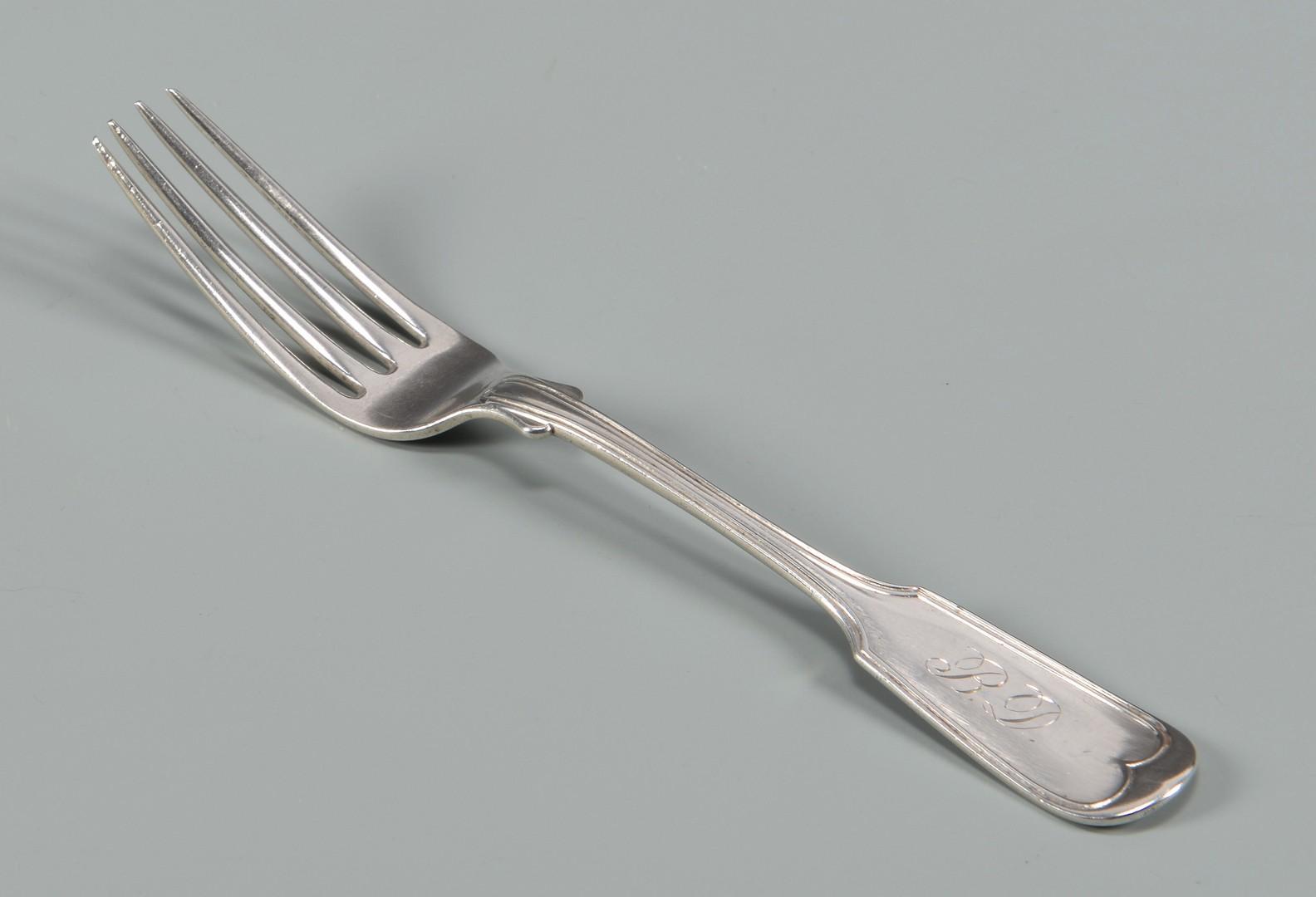 Lot 75: 12 Vicksburg Miss. Coin Silver Forks +1